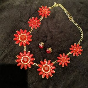 Costume red matching necklace and earring
